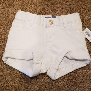 Toddler girls white pull on jean shorts